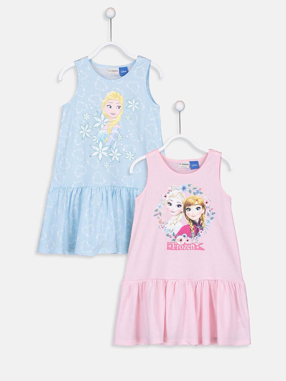 Mavi Kız Çocuk Frozen Elbise 2'li 9SM769Z4 LC Waikiki