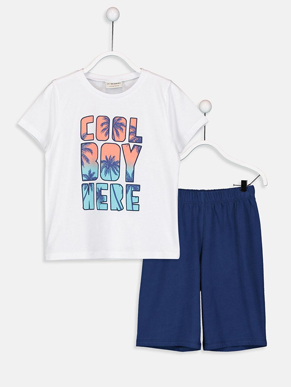 %100 Pamuk %100 Pamuk Penye Standart Pijama Takım Günlük Erkek Çocuk Baskılı Pamuklu Pijama Takımı