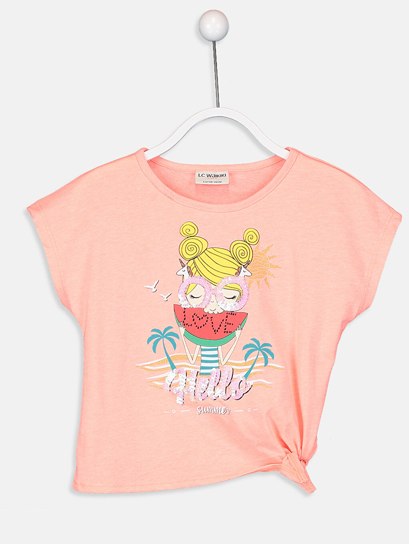 Pembe Kız Çocuk Baskılı Tişört 9SO403Z4 LC Waikiki
