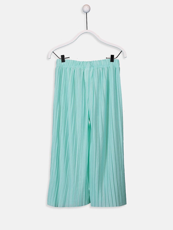 %100 Polyester Normal Bel Uzun Standart Eşofman Altı Düz Penye Kız Çocuk Beli Lastikli Pileli Capri
