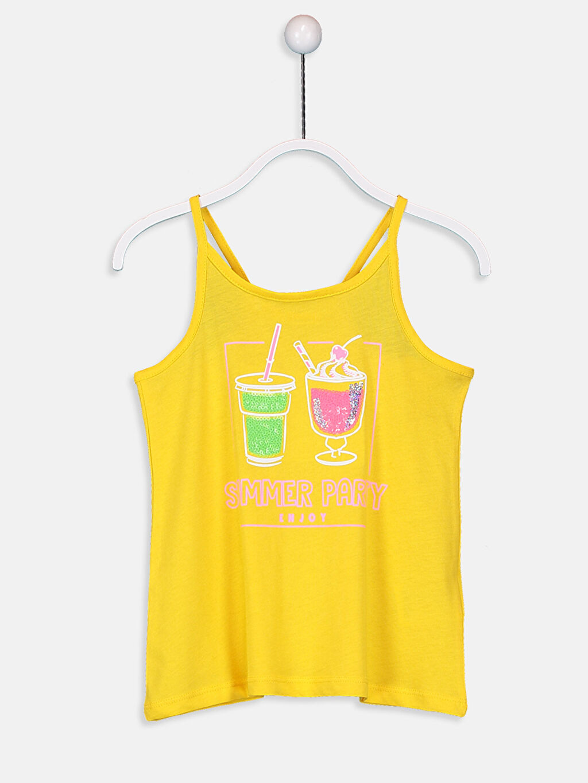 Sarı Kız Çocuk Pul İşlemeli Pamuklu Atlet 9SQ393Z4 LC Waikiki