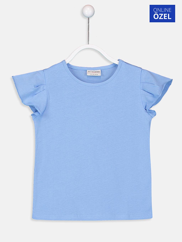 Mavi Kız Çocuk Pamuklu Basic Tişört 9SS323Z4 LC Waikiki