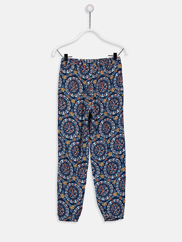 %100 Viskoz Baskılı Bol Normal Bel Pantolon Kız Çocuk Desenli Viskon Pantolon