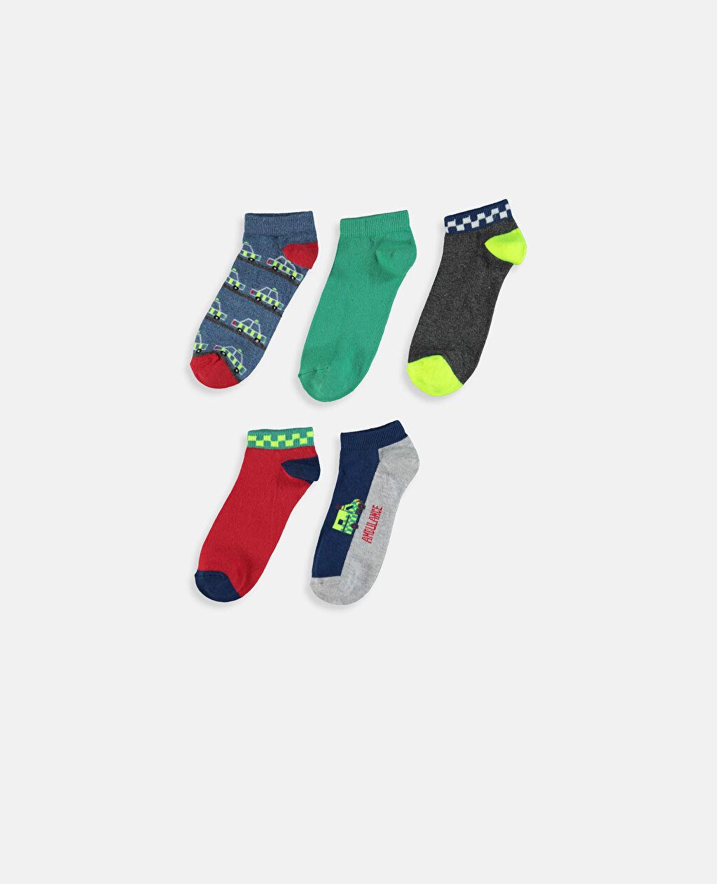 %58 Pamuk %16 Polyester %24 Poliamid %2 Elastan Dikişli Baskılı Günlük Orta Kalınlık Patik Çorap Erkek Çocuk Patik Çorap 5'li