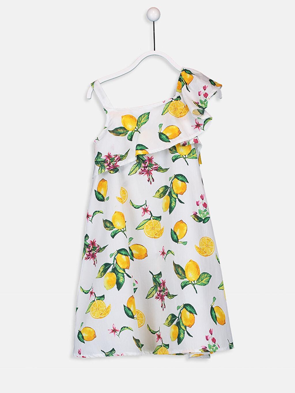 %100 Pamuk %100 Pamuk Midi Poplin Baskılı Kloş Elbise Kız Çocuk Fırfır ve Omuz Detaylı Elbise