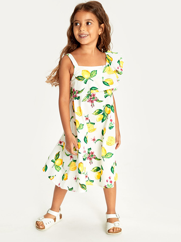 Ekru Kız Çocuk Fırfır ve Omuz Detaylı Elbise 9SV989Z4 LC Waikiki