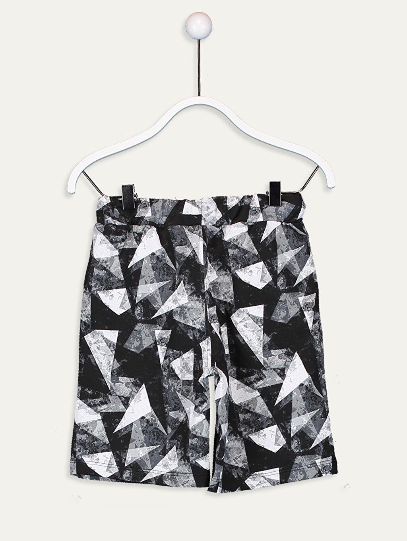 %78 Pamuk %22 Polyester İnce Sweatshirt Kumaşı Baskılı Şort Standart Erkek Çocuk Geometrik Desenli Şort