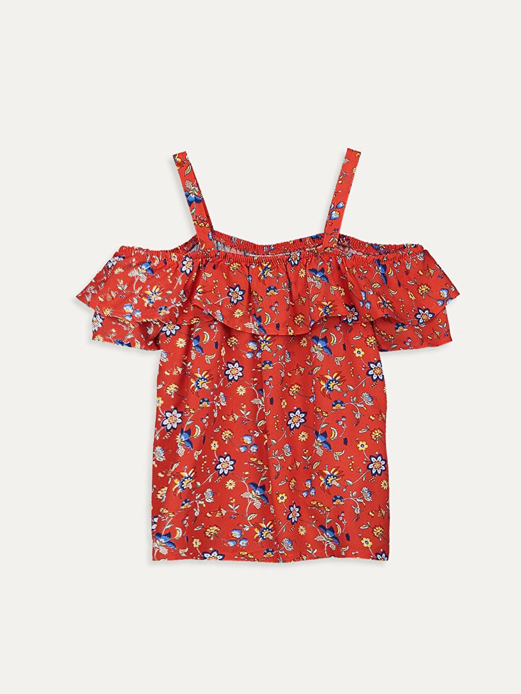 Kırmızı Kız Çocuk Omuzu Açık Viskon Bluz 9SA790Z4 LC Waikiki