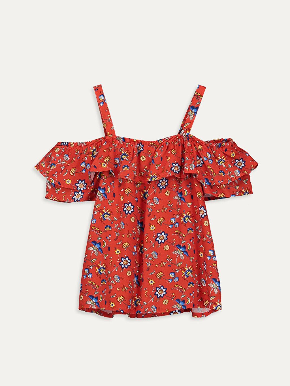 %100 Viskoz Kısa Kol Bluz Kayık Yaka Aksesuarsız Standart Baskılı Kız Çocuk Omuzu Açık Viskon Bluz