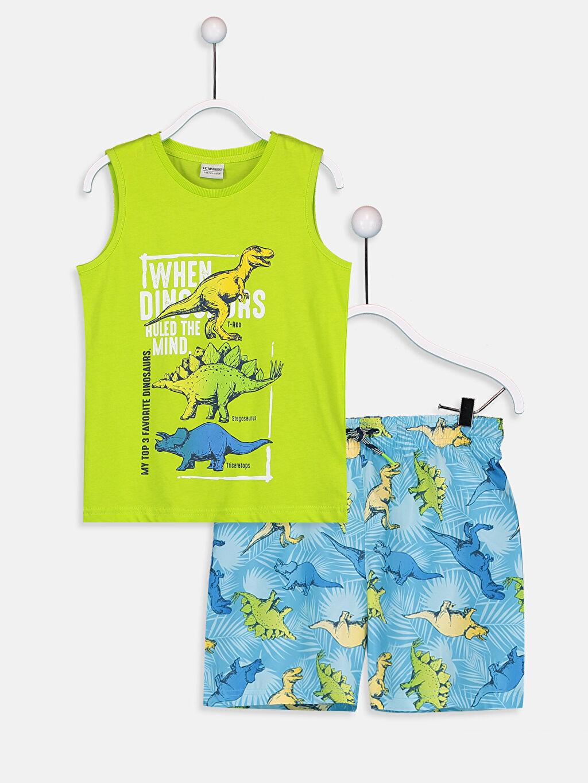 Turkuaz Erkek Çocuk Baskılı Yüzme Takım 9SB032Z4 LC Waikiki