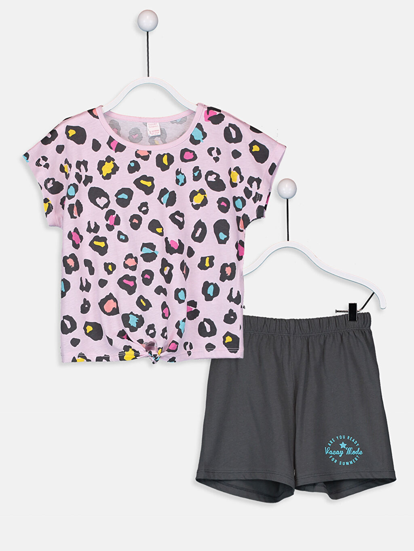 Pembe Kız Çocuk Baskılı Pamuklu Pijama Takımı 9SB062Z4 LC Waikiki