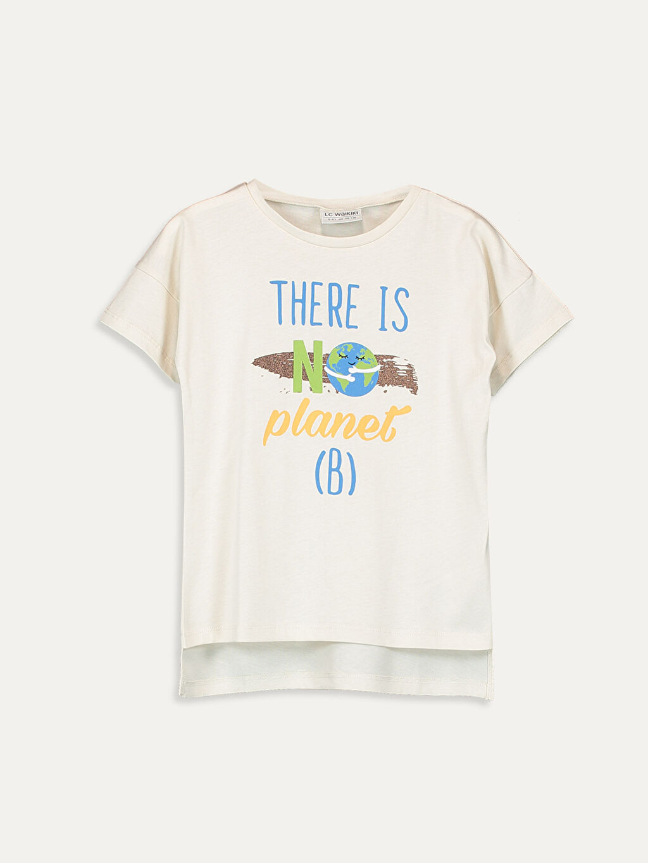 Ekru Kız Çocuk Slogan Baskılı Tişört 9SB823Z4 LC Waikiki