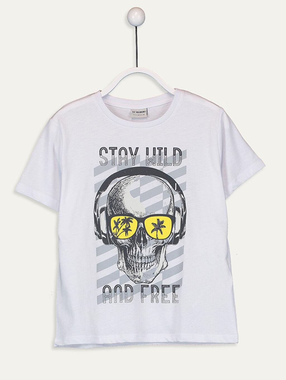 Beyaz Erkek Çocuk Baskılı Pamuklu Tişört 9SB919Z4 LC Waikiki
