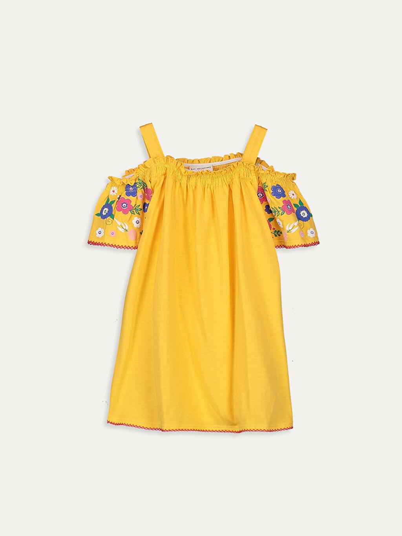 Sarı Kız Çocuk Omuzu Açık Pamuklu Tişört 9SC036Z4 LC Waikiki