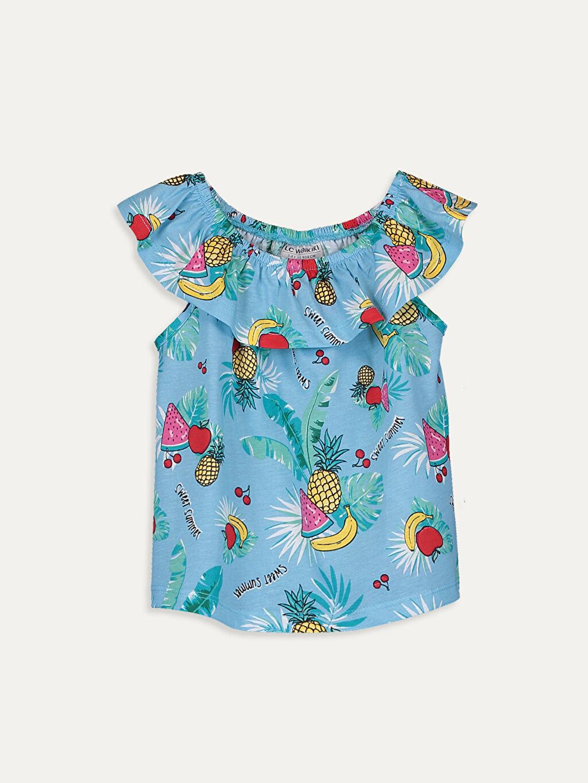 Mavi Kız Çocuk Baskılı Pamuklu Tişört 9SC516Z4 LC Waikiki