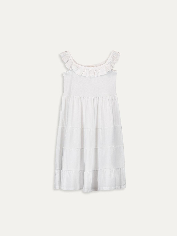 Beyaz Kız Çocuk Yakası Fırfırlı Pamuklu Elbise 9SC674Z4 LC Waikiki