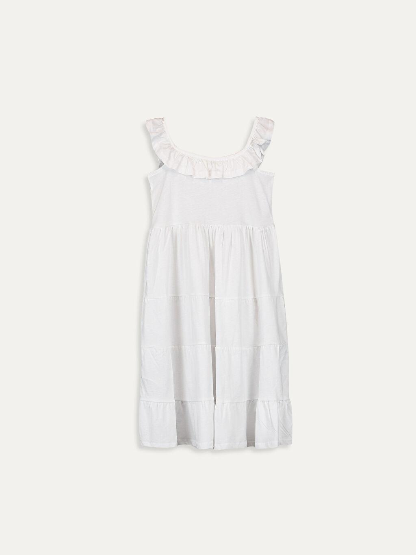 %100 Pamuk %100 Pamuk Katkat Uzun Elbise Düz Süprem Kız Çocuk Yakası Fırfırlı Pamuklu Elbise