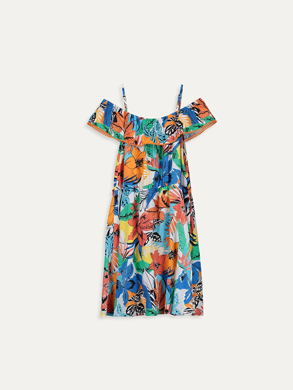 %100 Viskoz Baskılı Elbise Belden Oturtma Diz Üstü Kız Çocuk Desenli Omuzu Açık Viskon Elbise