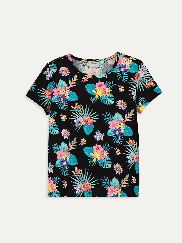 Siyah Kız Çocuk Çiçekli Pamuklu Tişört 9SC705Z4 LC Waikiki