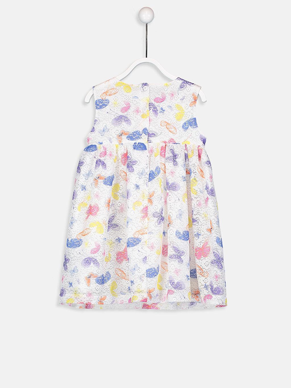 %100 Polyester %100 Pamuk Dantel Elbise Dokuma Astar Aksesuarsız Kolsuz Baskılı Bisiklet Yaka Kız Bebek Desenli Dantel Elbise