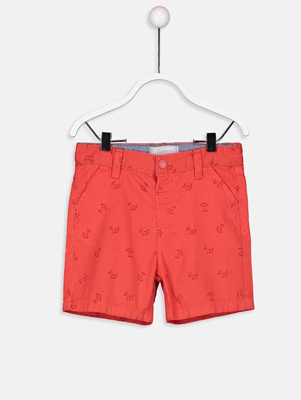 Kırmızı Erkek Bebek Desenli Gabardin Şort 9S6868Z1 LC Waikiki