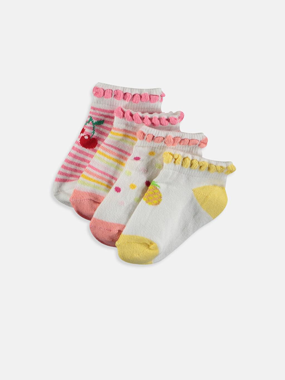 Çok Renkli Kız Bebek Desenli Patik Çorap 4'lü 9S9002Z1 LC Waikiki