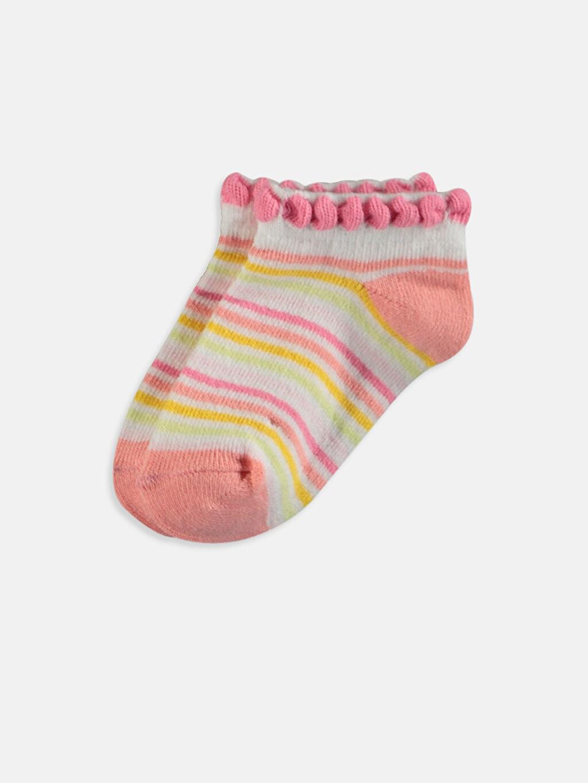 %78 Pamuk %1 Polyester %19 Poliamid %2 Elastan Orta Kalınlık Patik Çorap Dikişli Baskılı Kız Bebek Desenli Patik Çorap 4'lü
