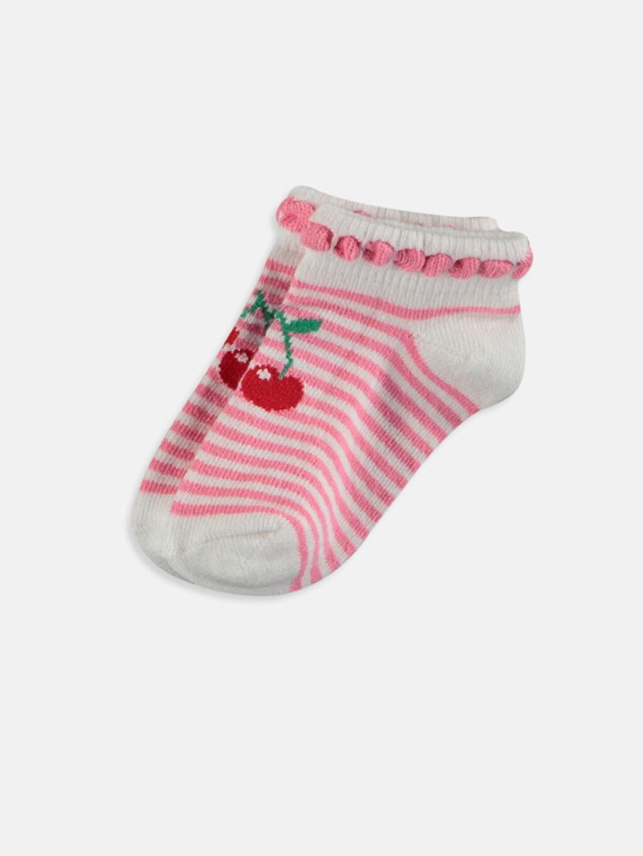 LC Waikiki Çok Renkli Kız Bebek Desenli Patik Çorap 4'lü