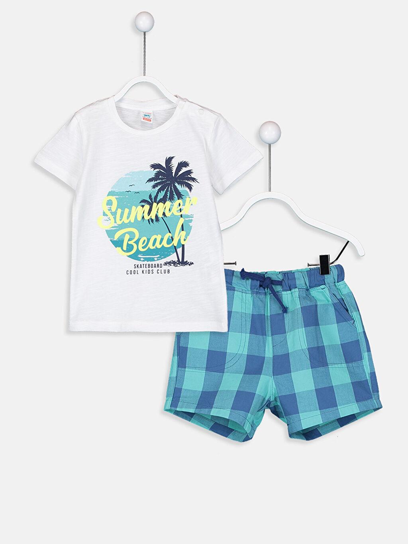 Beyaz Erkek Bebek Desenli Tişört Ve Ekoseli Şort 9S9195Z1 LC Waikiki