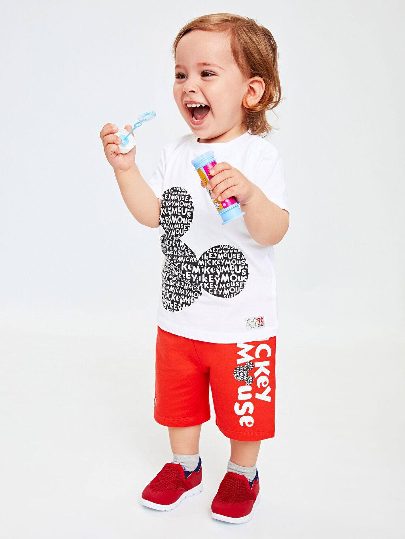 Beyaz Erkek Bebek Mickey Mouse Baskılı Tişört Ve Şort 9S9919Z1 LC Waikiki