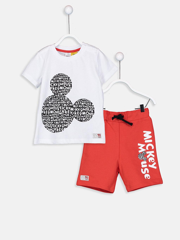 Erkek Bebek Erkek Bebek Mickey Mouse Baskılı Tişört Ve Şort
