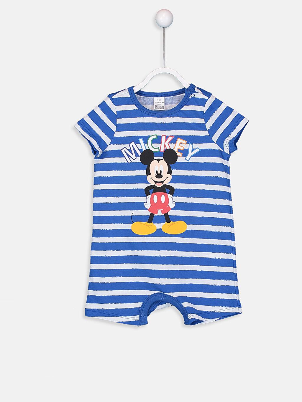 %100 Pamuk %100 Pamuk Standart Bisiklet Yaka Tulum Ribana Patiksiz Erkek Bebek Mickey Mouse Baskılı Tulum
