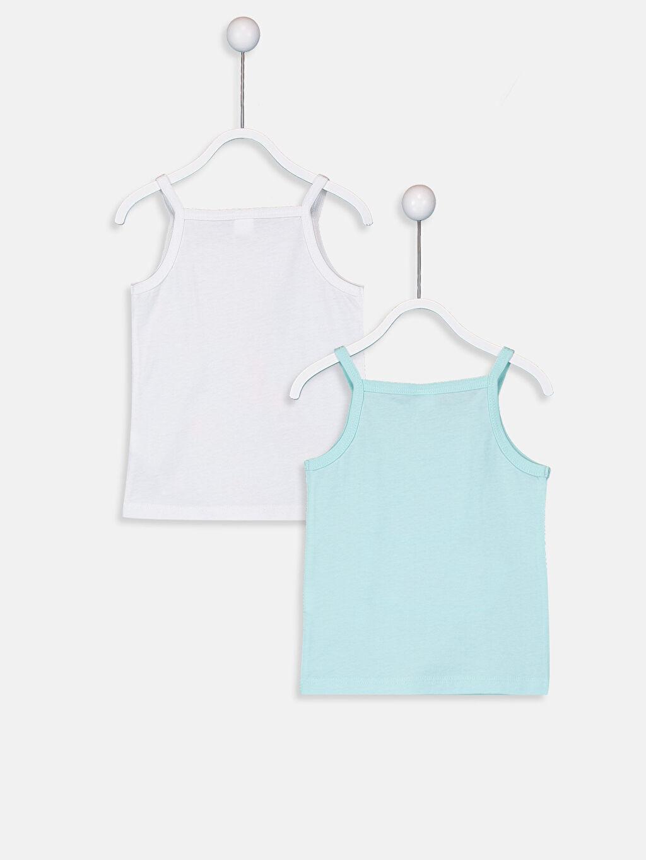 %100 Pamuk %100 Pamuk Penye Standart İç Giyim Atlet Kız Bebek Baskılı Pamuklu Atlet 2'li