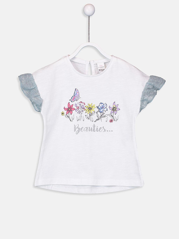 Beyaz Kız Bebek Baskılı Pamuklu Tişört  9SI021Z1 LC Waikiki