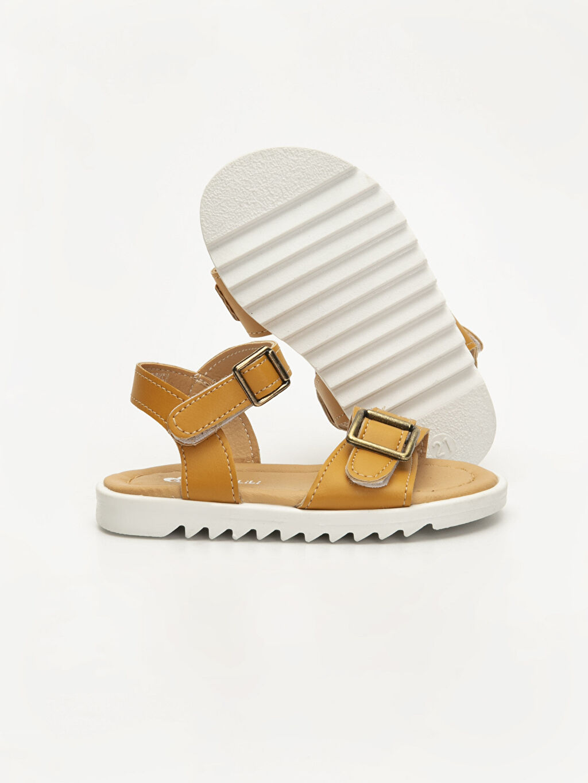 Kız Bebek Kız Bebek Deri Görünümlü Sandalet