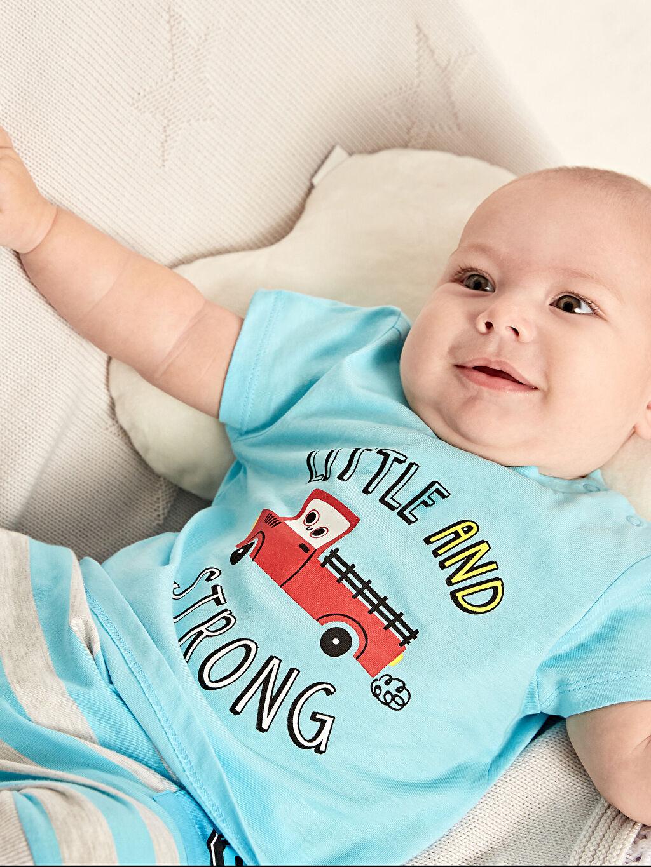 Turkuaz Erkek Bebek Baskılı Pamuklu Tişört 2'li 9SJ989Z1 LC Waikiki