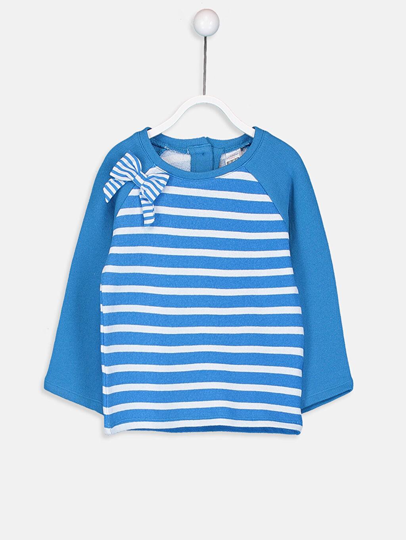 Mavi Kız Bebek Çizgili Sweatshirt 9SM436Z1 LC Waikiki
