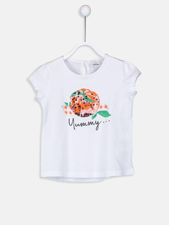 Beyaz Kız Bebek Baskılı Pamuklu Tişört  9SO762Z1 LC Waikiki