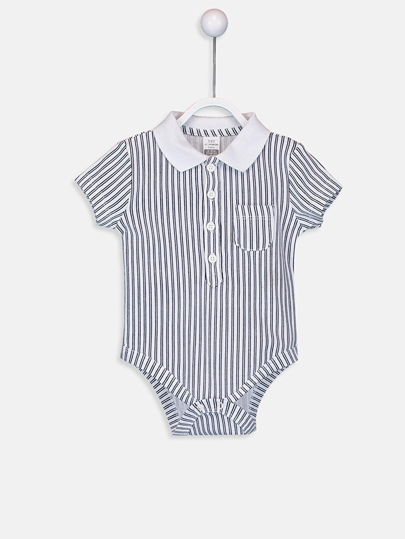 Beyaz Erkek Bebek Çizgili Çıtçıtlı Body 9SS177Z1 LC Waikiki
