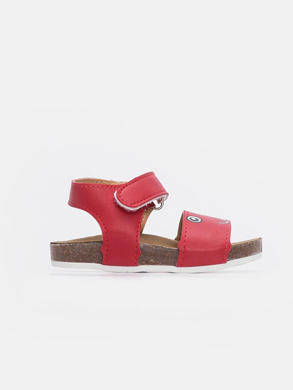 Kırmızı Erkek Bebek Deri Görünümlü Cırt Cırtlı Sandalet 9SS846Z1 LC Waikiki