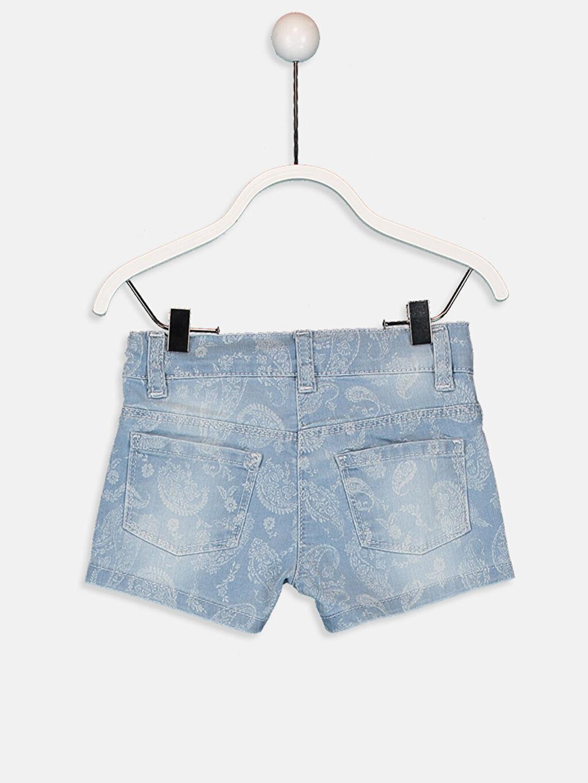 %79 Pamuk %19 Polyester %2 Elastan Standart Aksesuarsız Düz Baskılı Normal Bel Jean Şort Kız Bebek Desenli Jean Şort