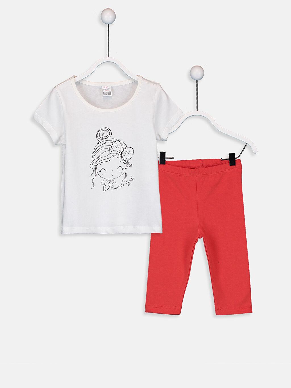 Ekru Kız Bebek Tişört ve Tayt 9SU146Z1 LC Waikiki