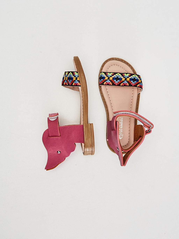 Kısa Sandalet PU Astar Kısa(0-2cm) Cırt Cırt Kız Bebek Desenli Sandalet