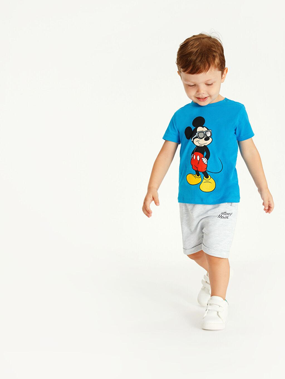 Mavi Erkek Bebek Mickey Mouse Baskılı Tişört ve Şort 9SV224Z1 LC Waikiki