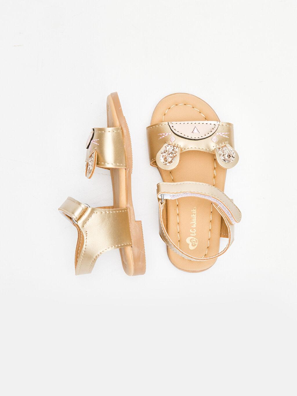 Kısa Sandalet PU Astar Kısa(0-2cm) Cırt Cırt Kız Bebek Pul Payetli Sandalet
