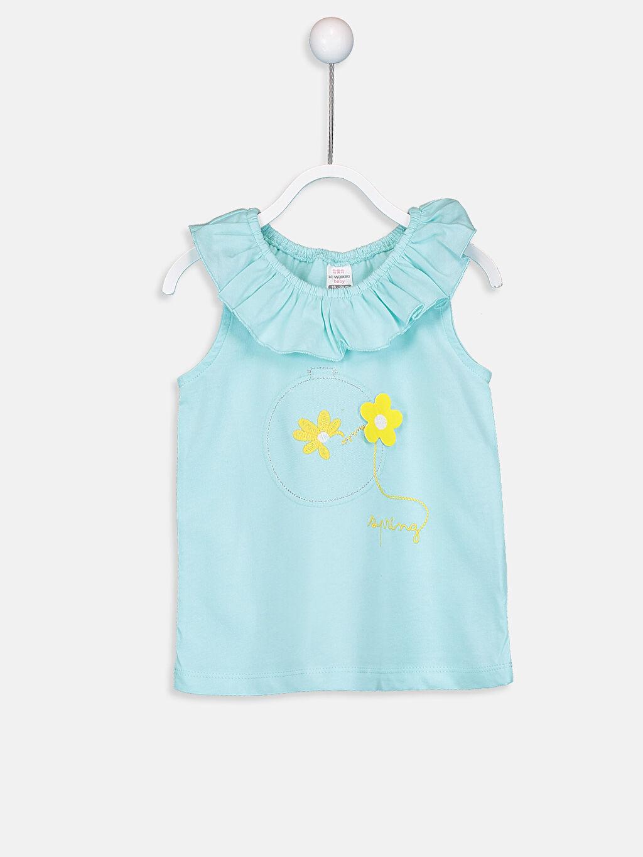 Yeşil Kız Bebek Desenli Pamuklu Atlet 9SV655Z1 LC Waikiki