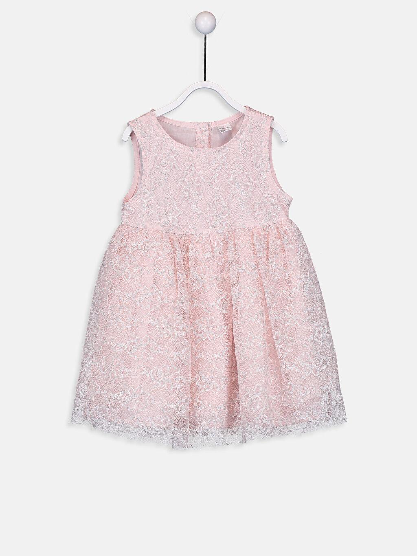 Pembe Kız Bebek Dantelli Elbise 9SY043Z1 LC Waikiki