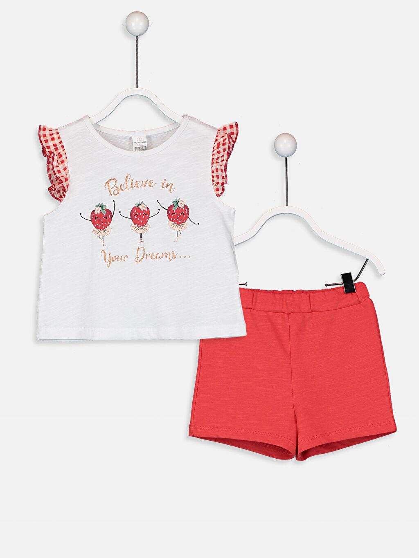Beyaz Kız Bebek Tişört ve Şort 9SY718Z1 LC Waikiki