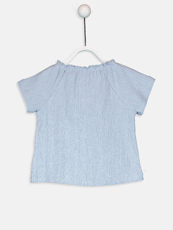 %59 Pamuk %40 Polyester %1 Elastan Bisiklet Yaka Kısa Kol Düz Penye Standart Tişört Kız Bebek Pamuklu Tişört