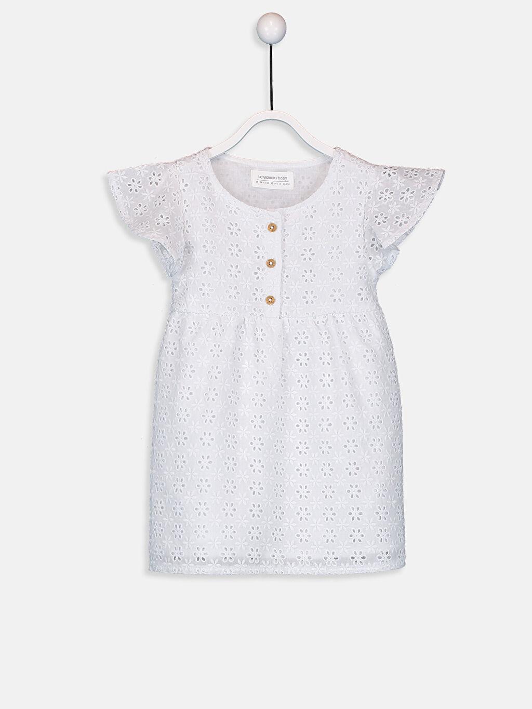 Kız Bebek Kız Bebek Kendinden Desenli Poplin Elbise